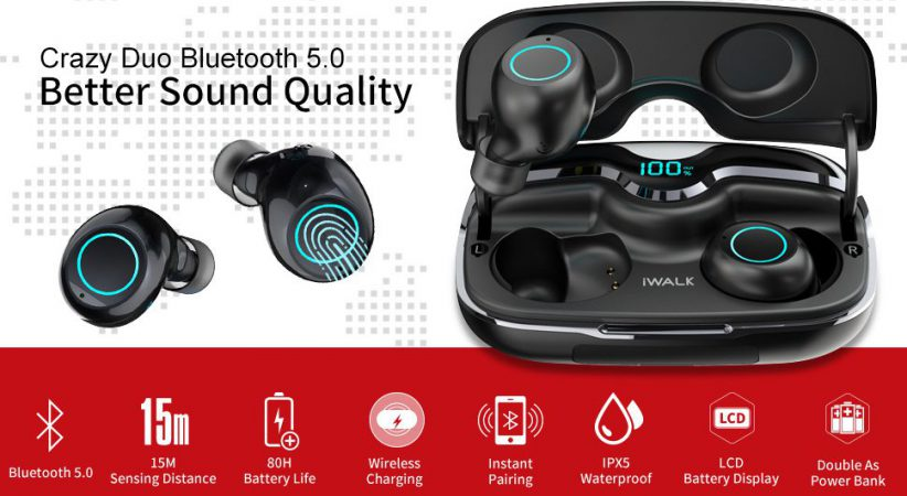 iWALK True Wireless Earbuds offer virtually unparalleled battery performance. However, most of this capacity comes from the 2500mAh case. The earphones themselves hold almost 5hrs of charge, which is still not bad. It is more than enough for morning/evening commute, or for a week's worth of training. Remember that just as with all battery life measurements, this is an approximation. All depending on your bitrate, whether you are making calls, and what the level of volume you use, your mileage might vary. The iWALK True Wireless Earbuds charging case offers 2 different charging options: wireless charging and USB C cable. On type C your charging case will fully charge in just ninety minutes. One wireless pad, it will fully charge in just over two hours, which is not bad at al. the battery indicator also makes it simple to keep track of how much juice you have got left, so you will never be caught off guard by dead battery.