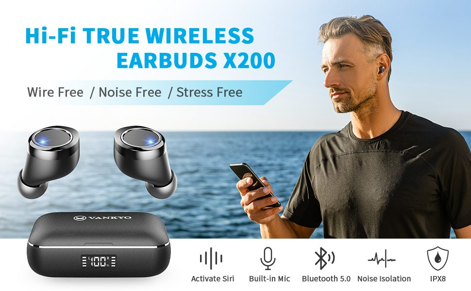VANKYO X200 earbuds with charging case