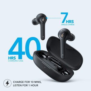 True wireless earbuds with long life battery
