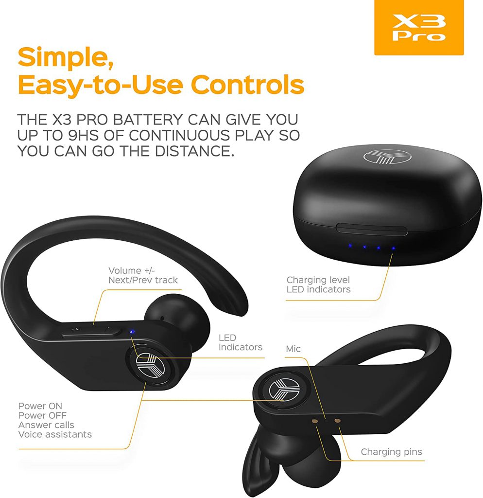Treblab x3-pro - best wireless earbuds with earhooks under 70