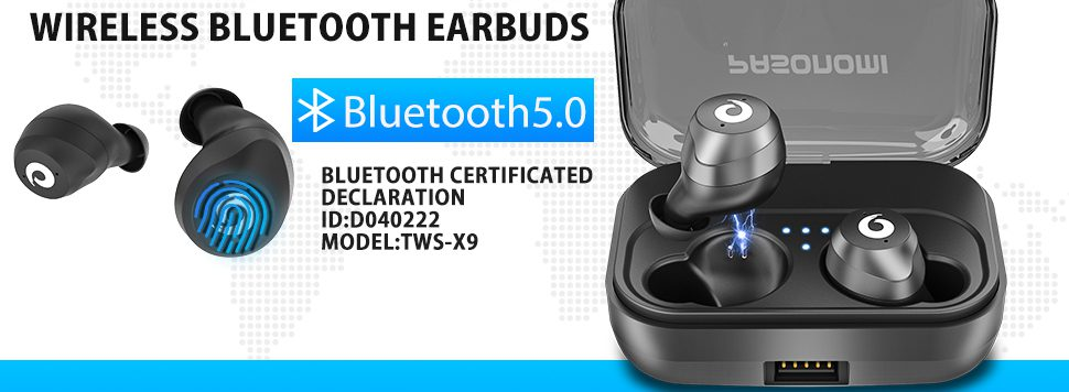 Pasonomi X9 - Wireless Bluetooth Earbuds