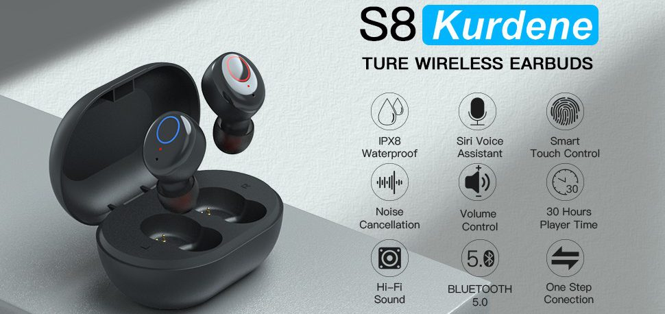S8 Kurdene - True wireless earbuds with great features perfect for jogging